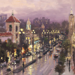 "Plaza Lights, Kansas City Sizes 12x16"" 16x20"""