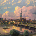 Sunset Over Riga, Latvia Size 16x20""